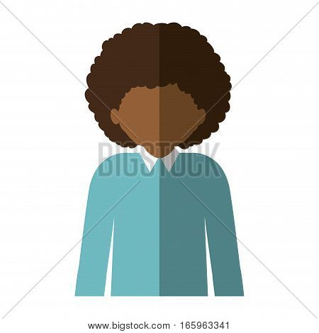 half body afro man with curly hair and middle shadow vector illustration
