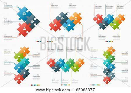Set of 3-8 option infographic templates with puzzle sections for presentations advertising layouts annual reports