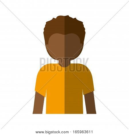 half body afro man with short hair and middle shadow vector illustration