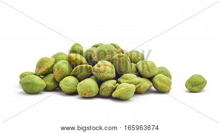 wasabi coated snack peanuts isolated closeup detail
