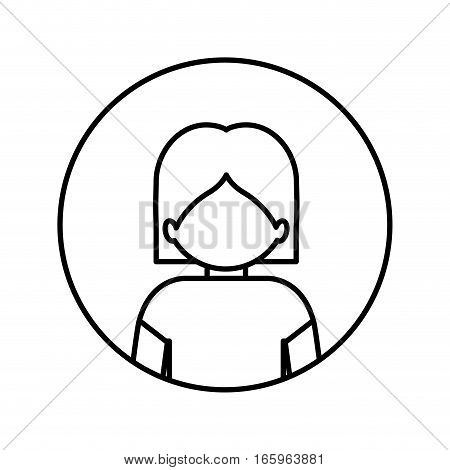 monochrome contour in circle with half body man with nude chest vector illustration