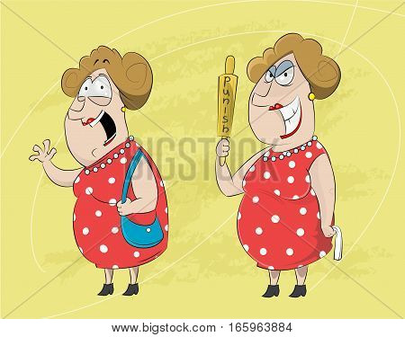 Two cartoons of standing mature woman greeting and one angry holding roll pin. Vector