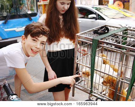 boy and girl with puppy in cage on asian street
