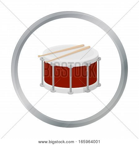 Drum icon in cartoon style isolated on white background. Musical instruments symbol vector illustration