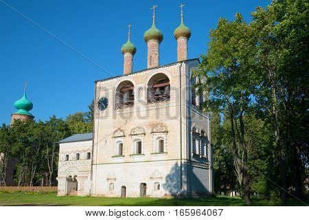 Belfry of the Borisoglebsky Rostovskiy Monastery in the August afternoon. Yaroslavl region, Russia