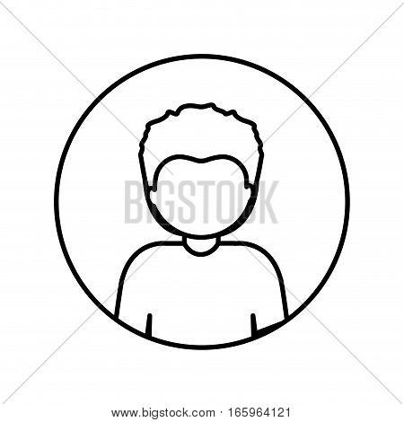 monochrome contour in circle with half body afro man with short hair vector illustration