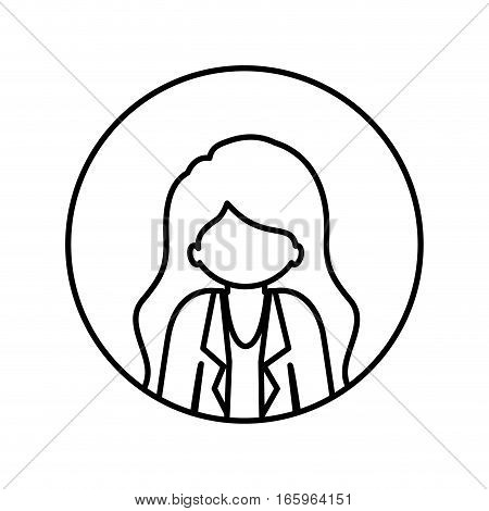 monochrome contour in circle with half body afro woman with jacket and long hair vector illustration