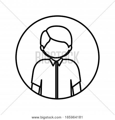 monochrome contour in circle with half body man with shirt vector illustration