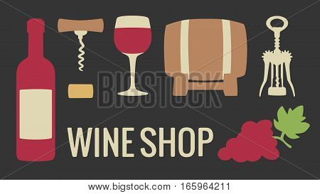 Set wine icon. Bottle glass of wine cork corkscrew bunch of grapes. Vector flat illustration. For web info graphics for wine shop. Vector illustration. For web logotype info graphics. Isolated on black background.