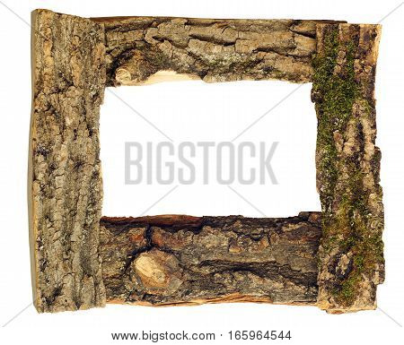 frame with pieces of wood covered with bark