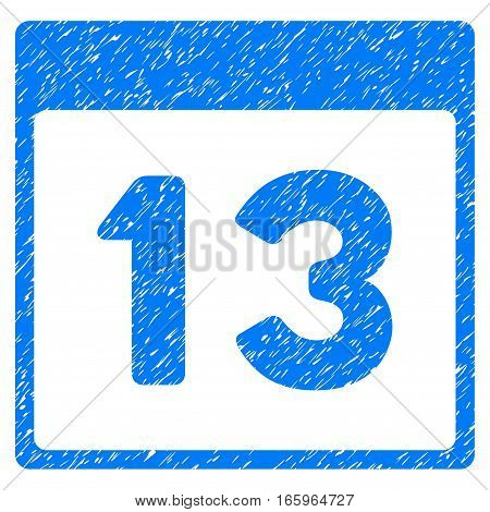 Thirteenth Calendar Page grainy textured icon for overlay watermark stamps. Flat symbol with dirty texture. Dotted vector blue ink rubber seal stamp with grunge design on a white background.