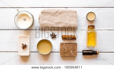spa treatments on wooden background top view.