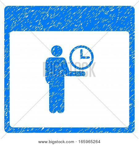 Time Manager Calendar Page grainy textured icon for overlay watermark stamps. Flat symbol with unclean texture. Dotted vector blue ink rubber seal stamp with grunge design on a white background.