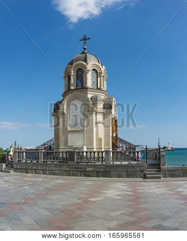 YALTA CRIMEA RUSSIA - SEPTEMBER 12.2016: Chapel on quay of Yalta