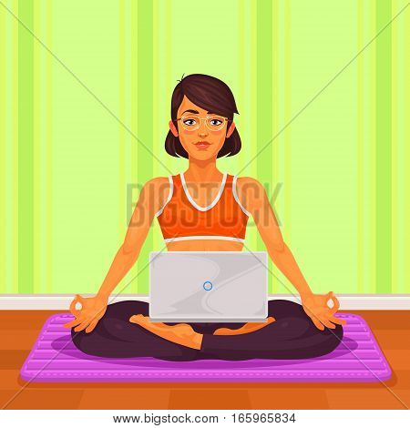 illustration of a girl yoga in the lotus position. The girl is engaged in yoga and is working at a laptop.