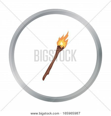 Torch icon in cartoon style isolated on white background. Stone age symbol vector illustration.