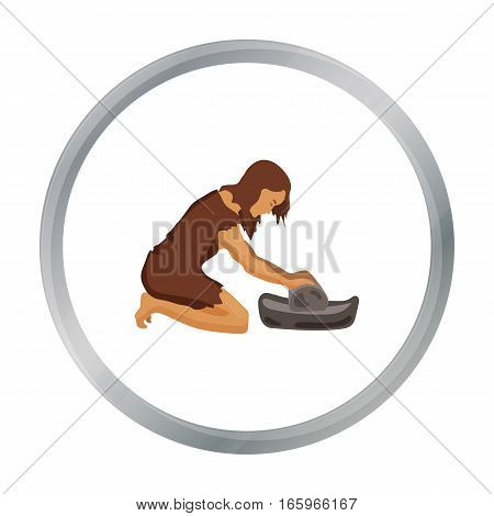Cavewoman with grindstone icon in cartoon style isolated on white background. Stone age symbol vector illustration.
