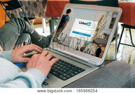 BARCELONA, SPAIN - MARCH 27, 2016: LinkedIn login page in a laptop screen. LinkedIn is a business and employment-oriented social networking service that operates via websites.