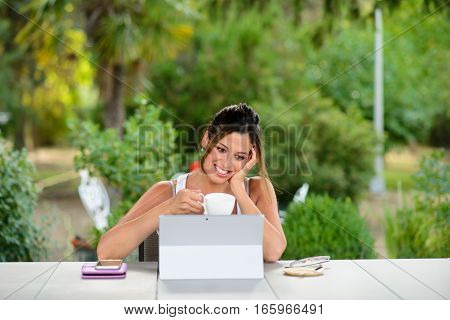 Successful Professional Casual Woman Working Online With Laptop Outside