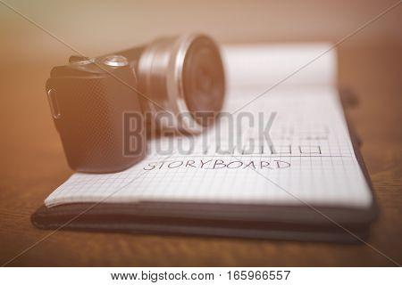 Storyboard And Camera In Sepia
