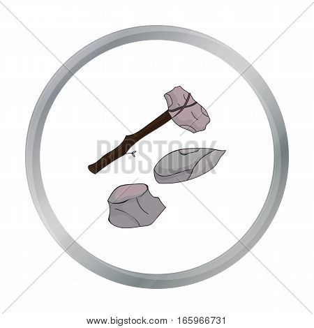 Stone tools icon in cartoon style isolated on white background. Stone age symbol vector illustration.