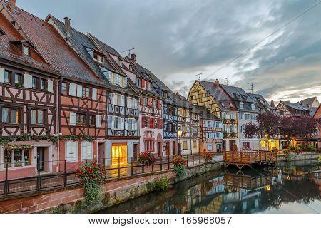 Area little Venice (la Petite Venise) in Colmar Alsace France. Evening