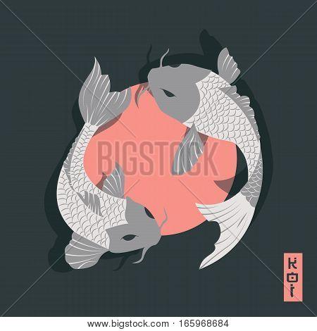 Two carp koi fish swimming around Sun traditional Japanese style vector illustration