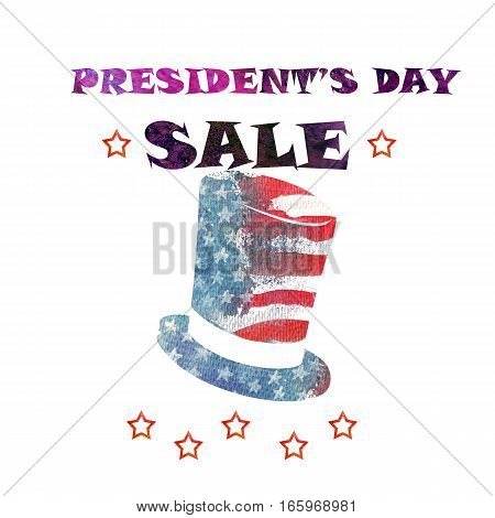 Happy President Day. Watercolor USA flag background. President hat. American holiday.
