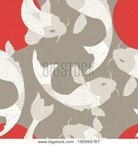 Seamless pattern with carp koi fish and sun traditional japanese art vector illustration
