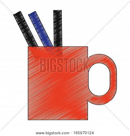cup with pens and pencils over white background. colorful design. vector illustration