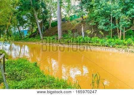 Landscape design of relax tropical garden with river bank park Prenn, Dalat city Vietnam