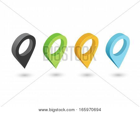 Vector isometric sat of pin icons, 3d flat map geotag pointer sign.