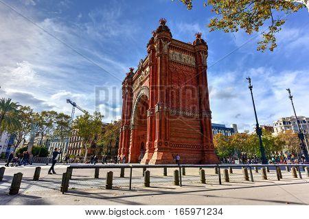 Barcelona Spain - November 27 2016: The Arc de Triomf in Barcelona Spain