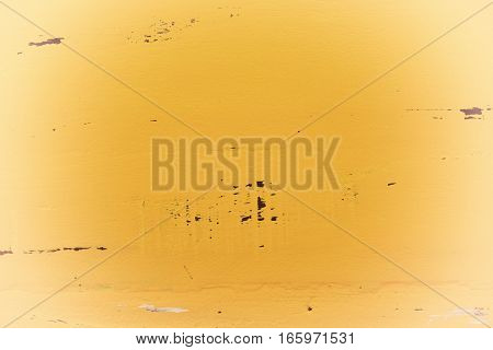 Yellow Rustic Wood Background With White Vignette.