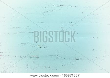 Aqua Green Blue Rustic Wood Background With White Vignette.