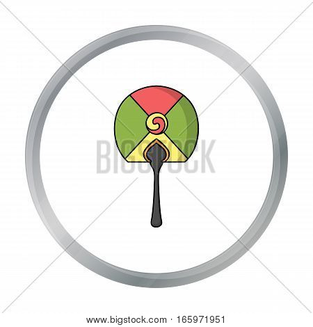 Korean hand fan icon in cartoon style isolated on white background. South Korea symbol vector illustration.