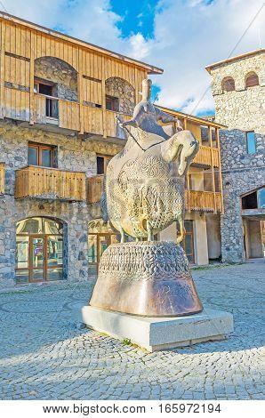 Queen Tamar Statue In Mestia