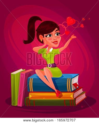 illustration of a young girl sitting on the books and thinking about love
