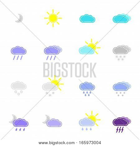 set with weather icons in different color