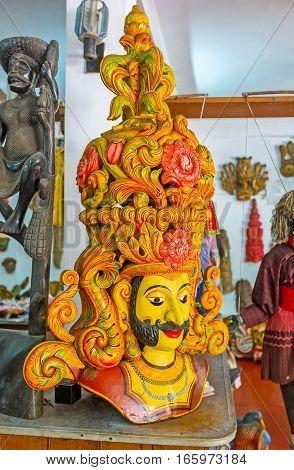 AMBALANGODA SRI LANKA - DECEMBER 5 2016: The mask of the mythic king that presents at mask shows on December 5 in Ambalangoda.