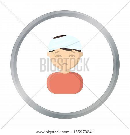 Head injury icon cartoon. Single sick icon from the big ill, disease cartoon. - stock vector