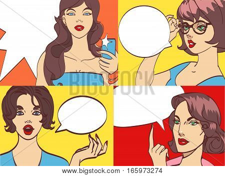GREAT SET of beautiful colorful cartoon bunette vector woman in pop art style. Many layers for your convenience, eps 10
