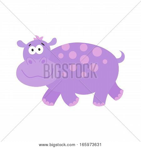 Funny hippo.Cute cartoon African animal. Flat design vector behemoth for children's books posters clothes alphabet cards.