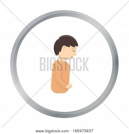 Abdominal pain icon cartoon. Single sick icon from the big ill, disease cartoon. - stock vector