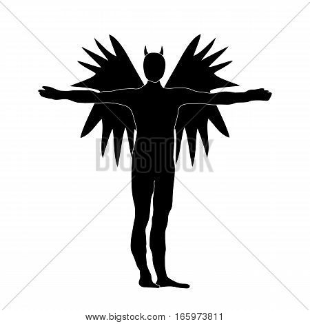 Angel Of Darkness Black Silhouette Icon Symbol Design. Vector Illustration Isolated On White Backgro