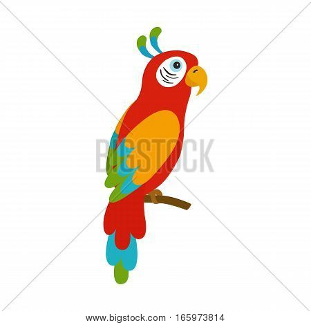 Ara parrot. Colorful tropical bird. Fauna of South America. Flat design vector illustrationfor children's books posters clothes alphabet cards.