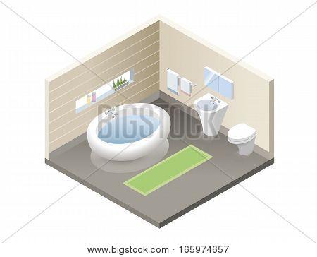 Vector isometric bathroom, set of modern bath furniture icons, bathroom isometric retro interior, 3d flat design of home elements, interior design