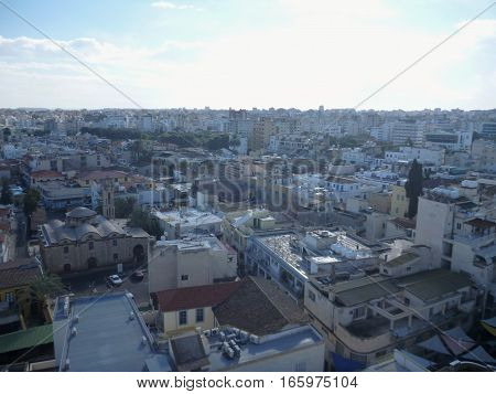 Aerial Panorama Of Nicosia City