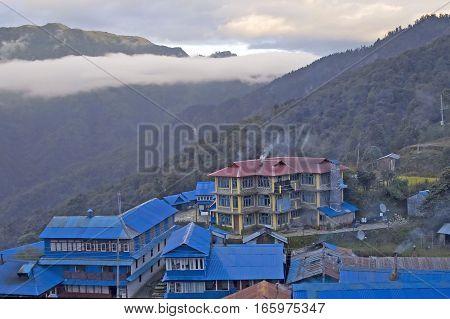 Nice view of Ghorepani lodge in Himalayas mountains, Nepal