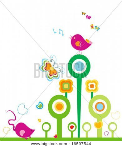 animals in springtime, design for kids